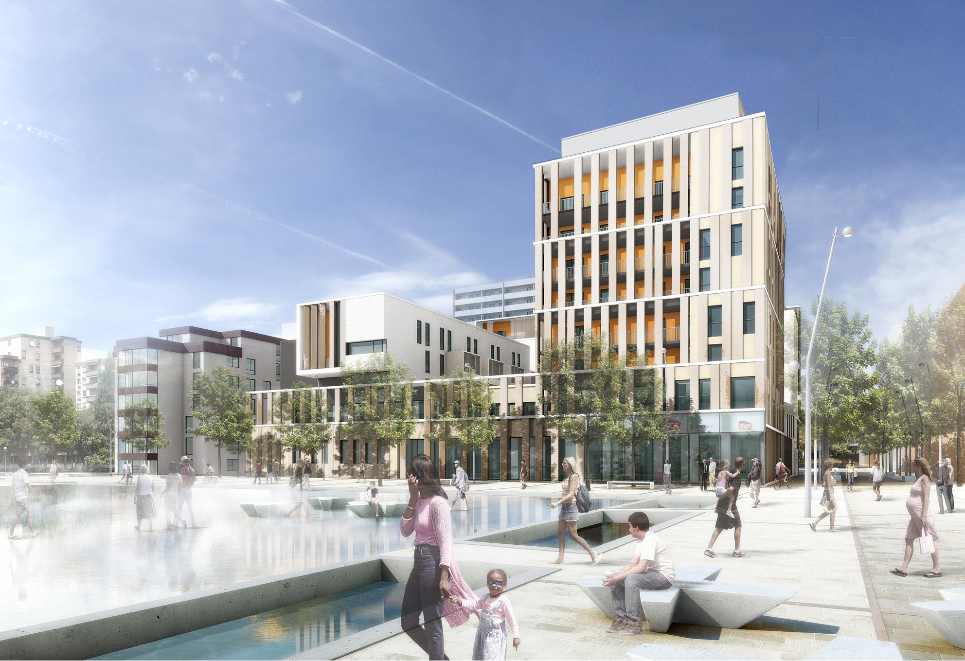 74 logements collectifs centre social surface for Architecture commerciale definition